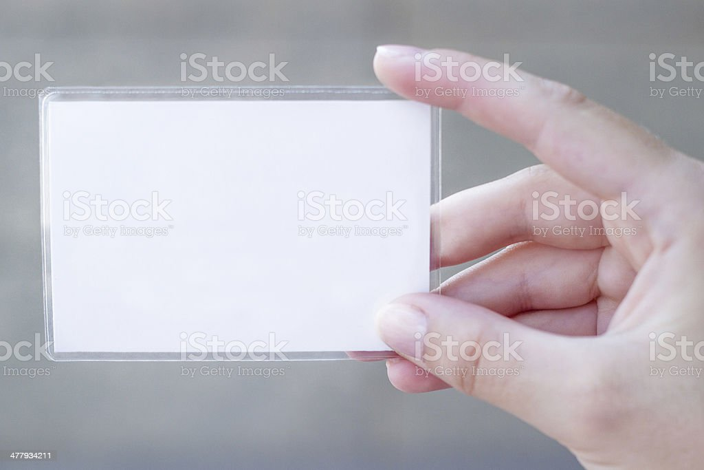 Blank card in a hand royalty-free stock photo
