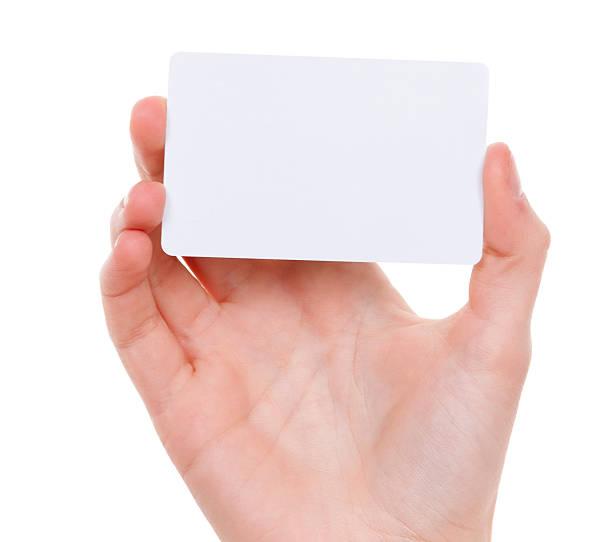 carte vierge dans la main de femmes sur blanc - description photos et images de collection