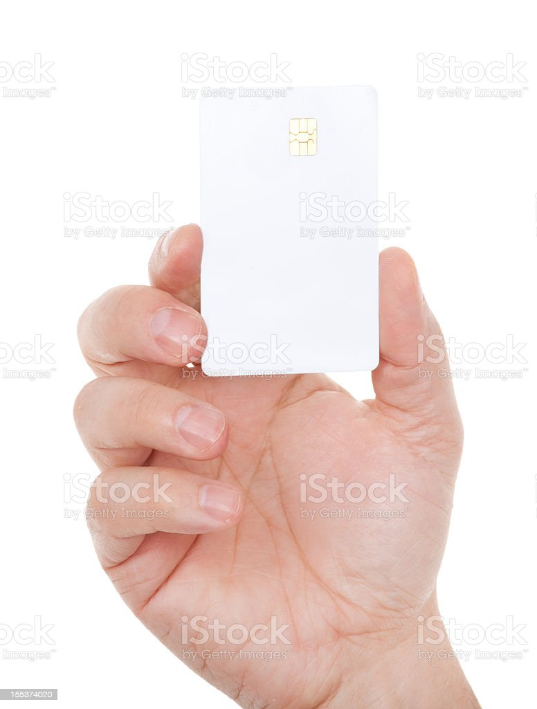 Blank card in male hand on white stock photo
