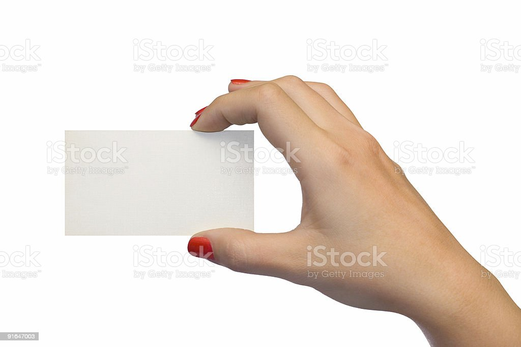 Blank card in woman hand royalty-free stock photo
