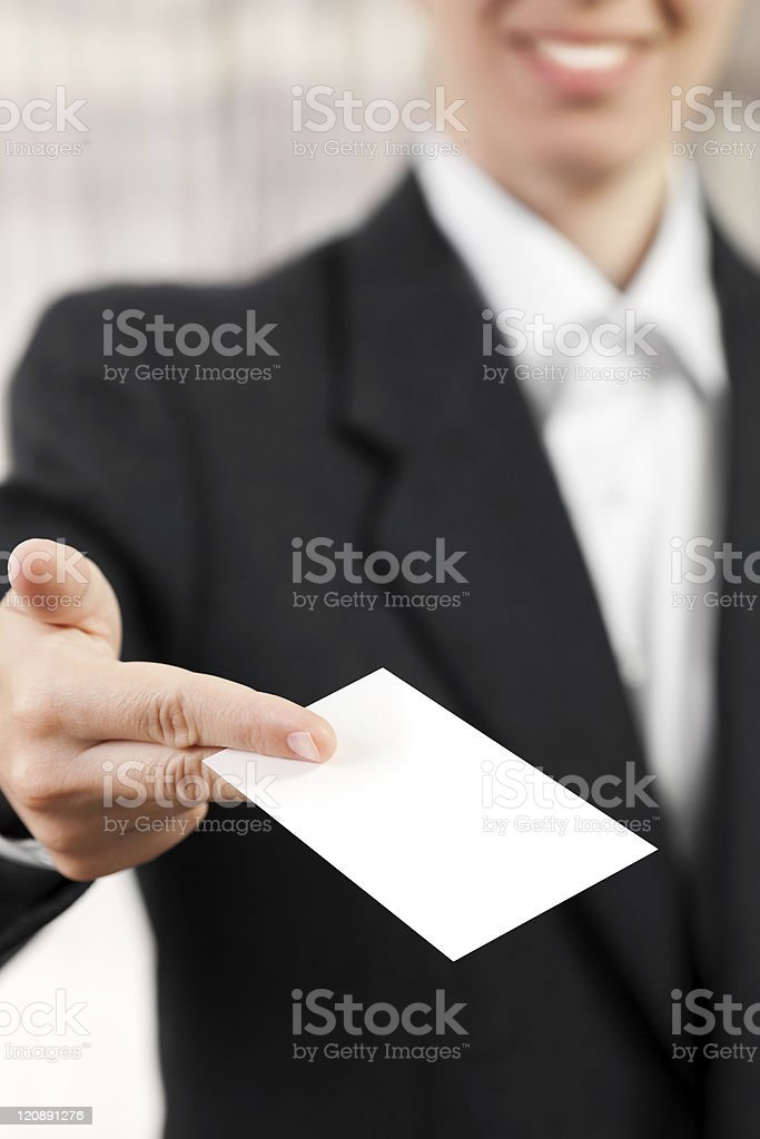 Blank card in women hand royalty-free stock photo