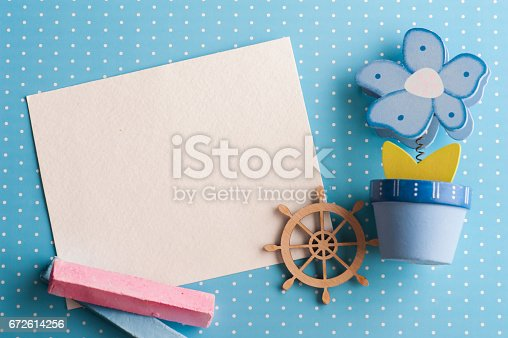 istock Blank card on blue background with boat 672614256