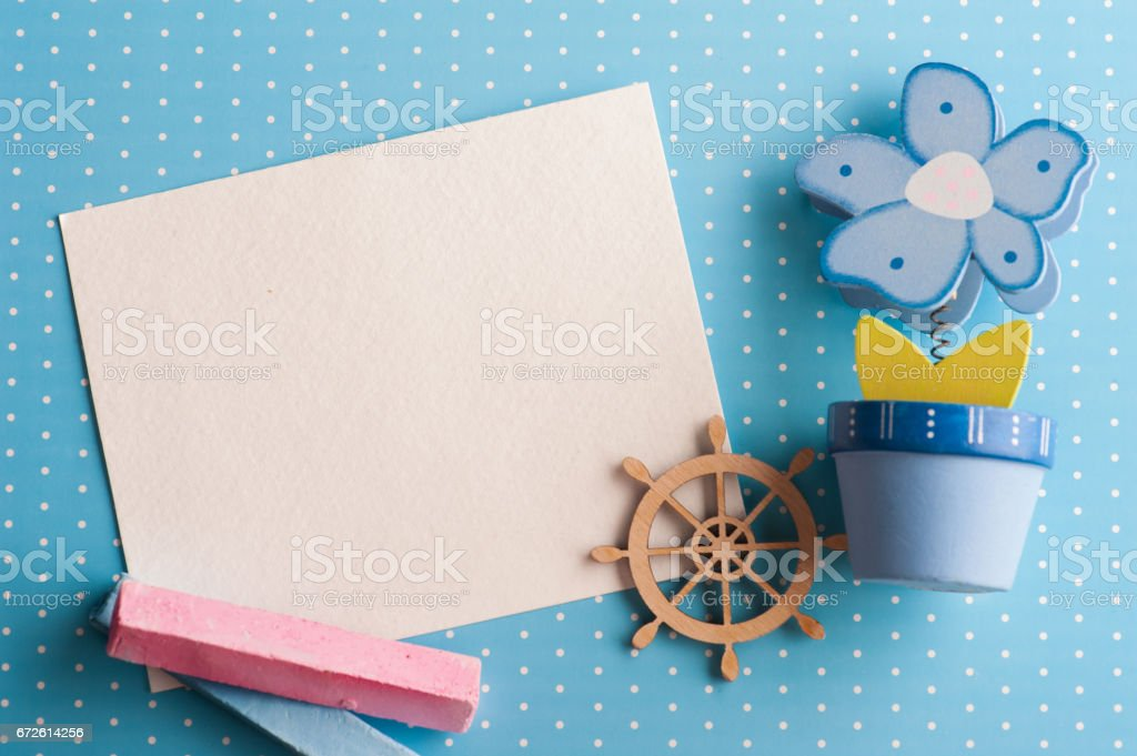 Blank card on blue background with boat stock photo