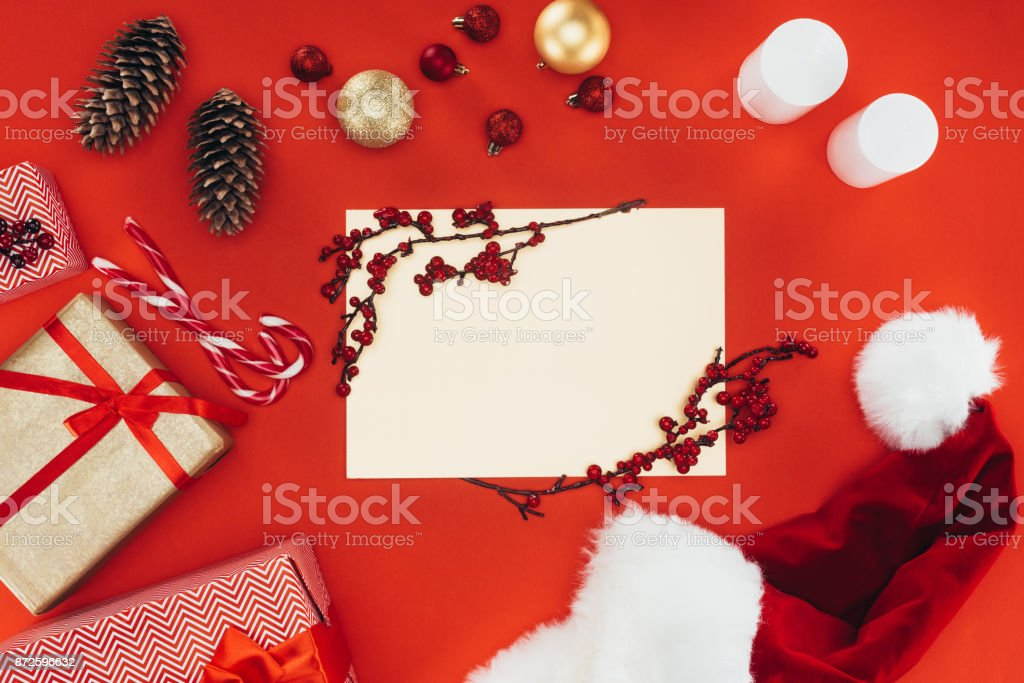 blank card, presents and christmas decorations stock photo