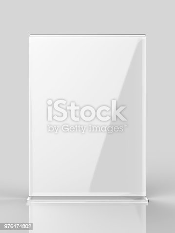 istock Blank Card stand type side loader Acrylic Table Tent. 3d render illustration 976474802