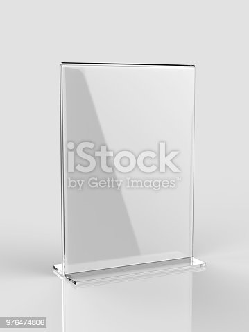 istock Blank Card stand type side loader Acrylic Table Tent. 3d render illustration 976474806