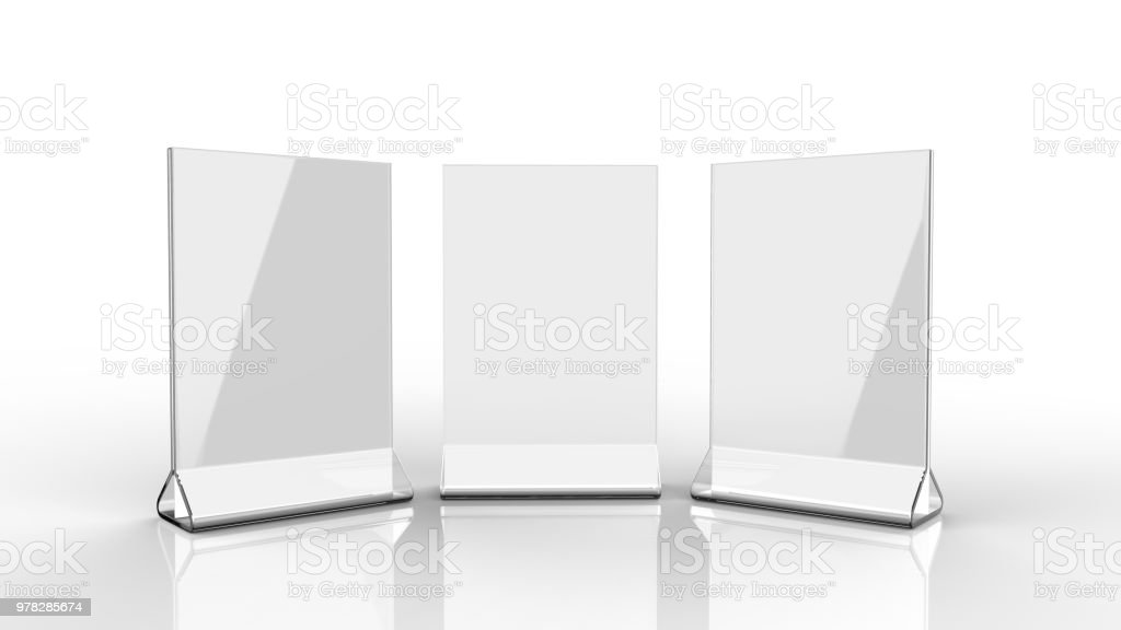 Blank Card stand type top loader Table Tent. 3d render illustration. stock photo