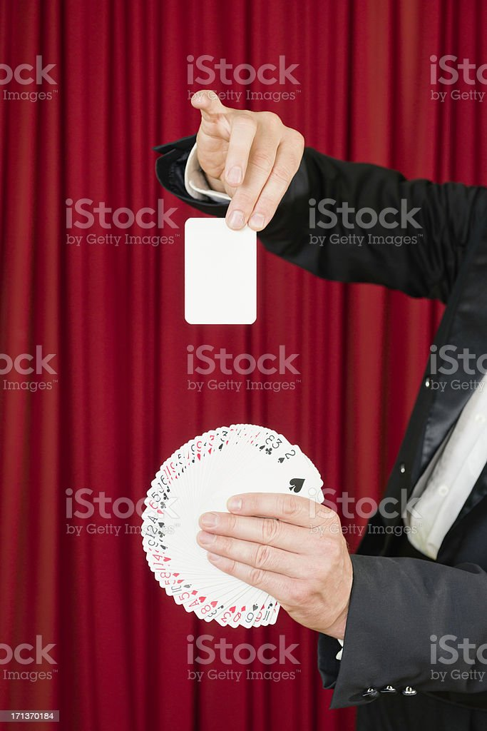 Blank card trick stock photo
