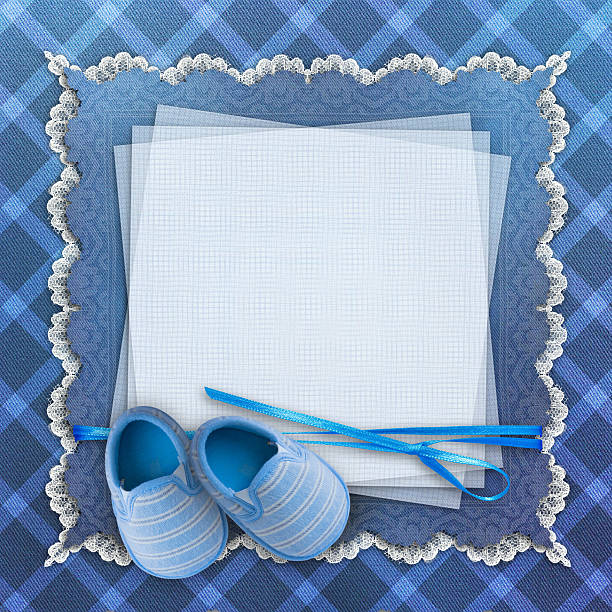 blank card with baby shoes on blue background - invitation stok fotoğraflar ve resimler