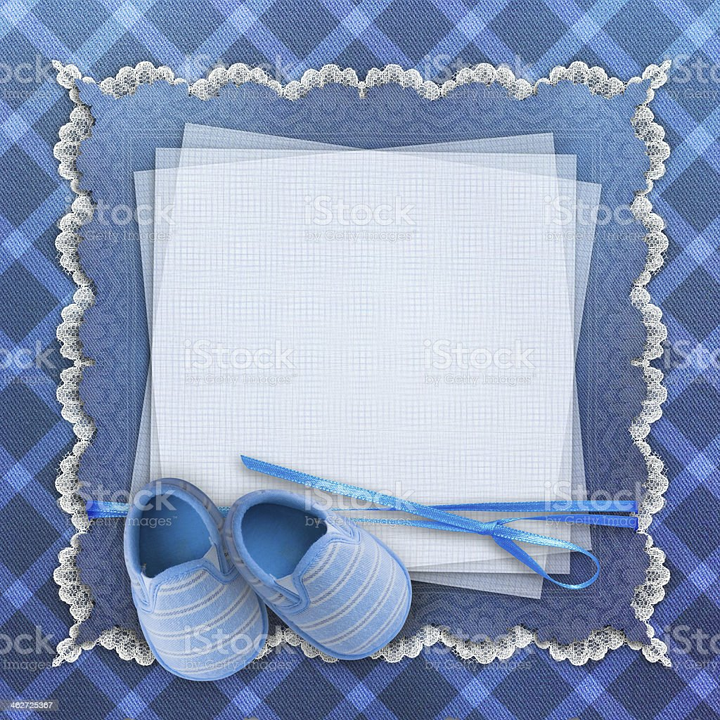 Blank Card With Baby Shoes On Blue Background Stock Photo