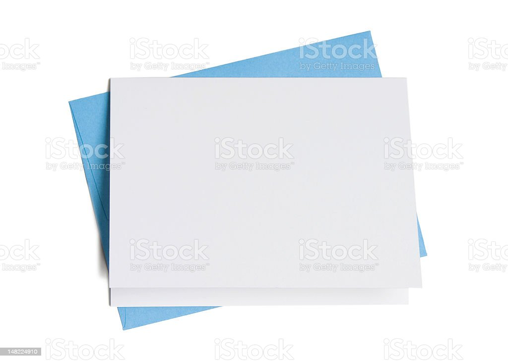 Blank Card with Blue Envelope stock photo
