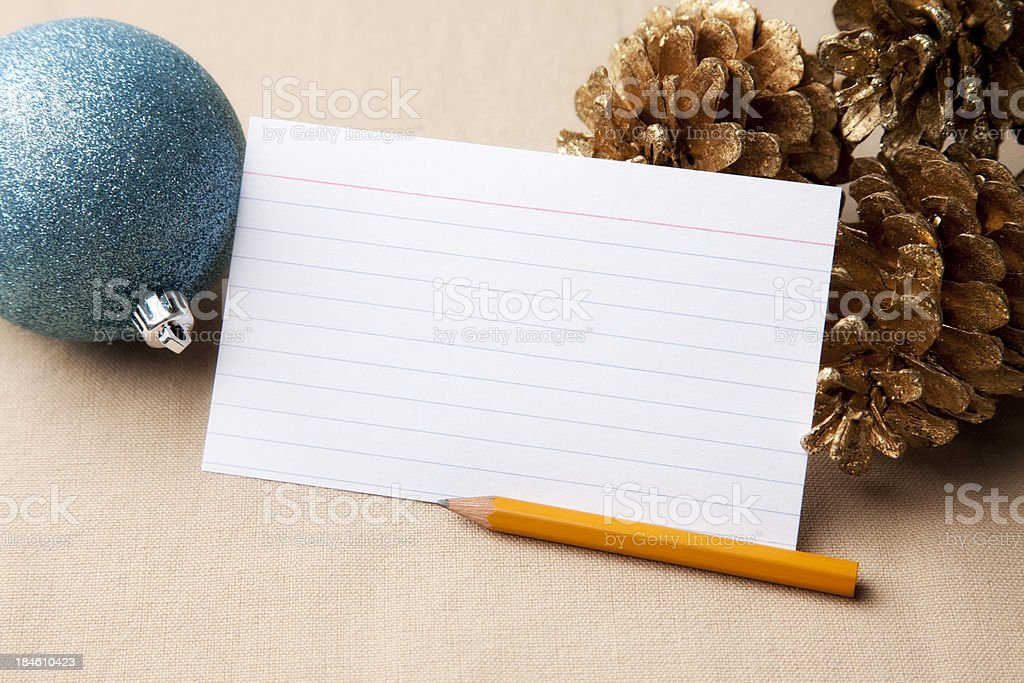 Blank Card with Christmas Decorations royalty-free stock photo