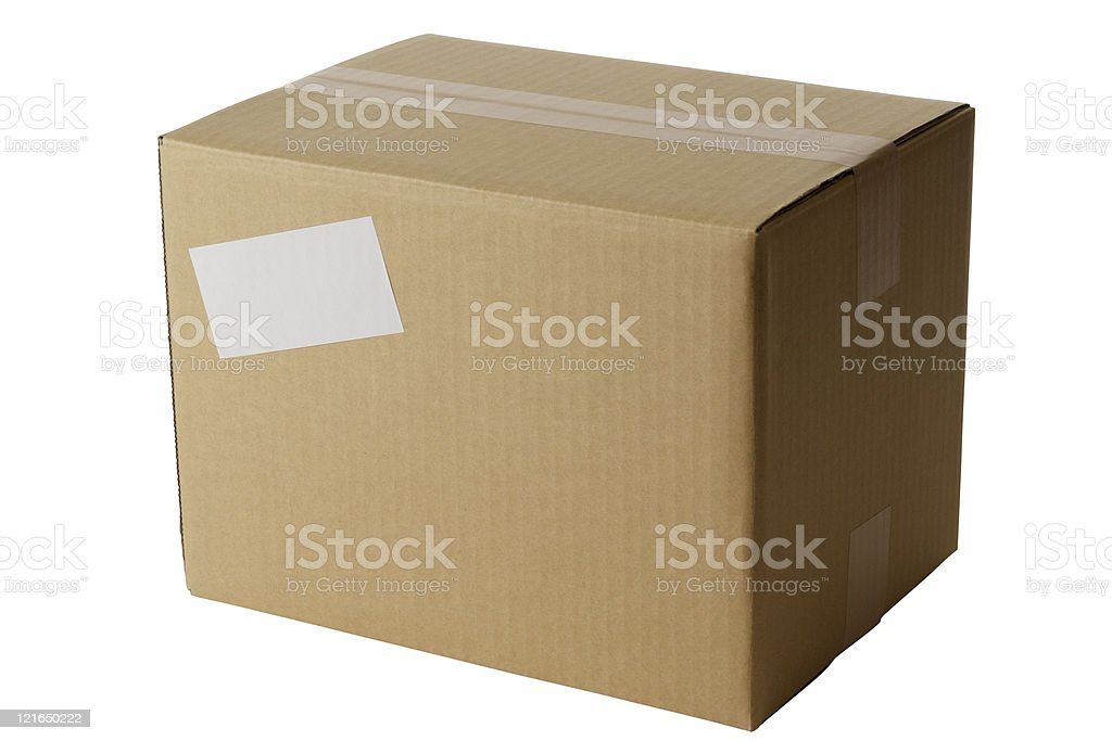 Blank cardboard box with white blank label on white background royalty-free stock photo