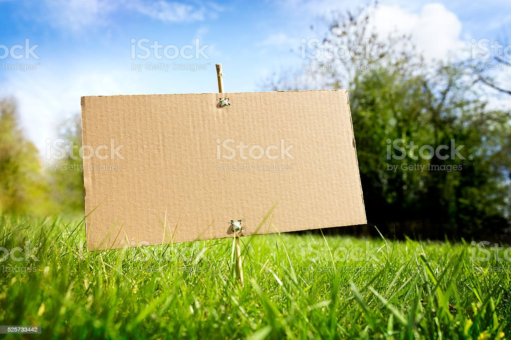 Blank cardboard sign in nature ready for message stock photo