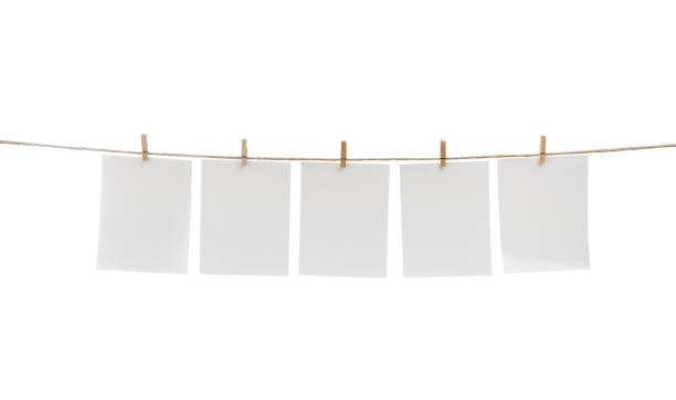 Blank Cards Hanging on Clothesline stock photo