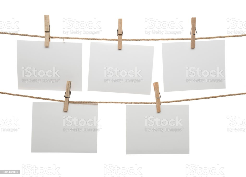 Blank Cards Hanging on Clothesline zbiór zdjęć royalty-free