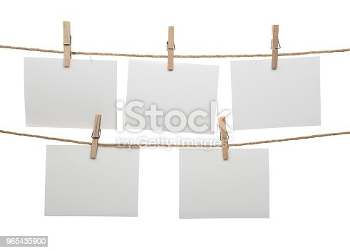 Blank Cards Hanging On Clothesline Stock Photo & More Pictures of Blank