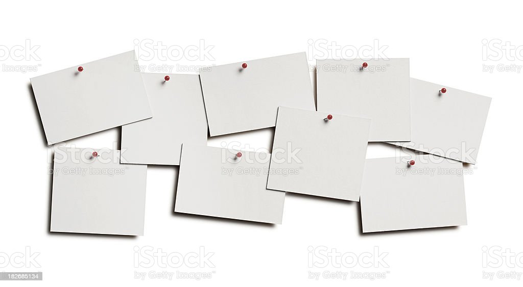 Blank Cards Pinned to Wall royalty-free stock photo
