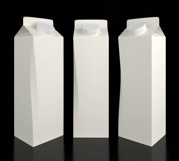 Blank carton milk and juice packaging stock photo