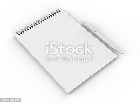 istock Blank cash voucher book for branding mock up. 3d rendering illustration. 1097442246