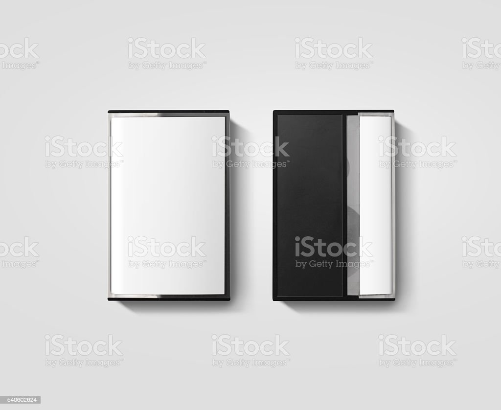 Blank cassette tape box design mockup, isolated, back side view stock photo