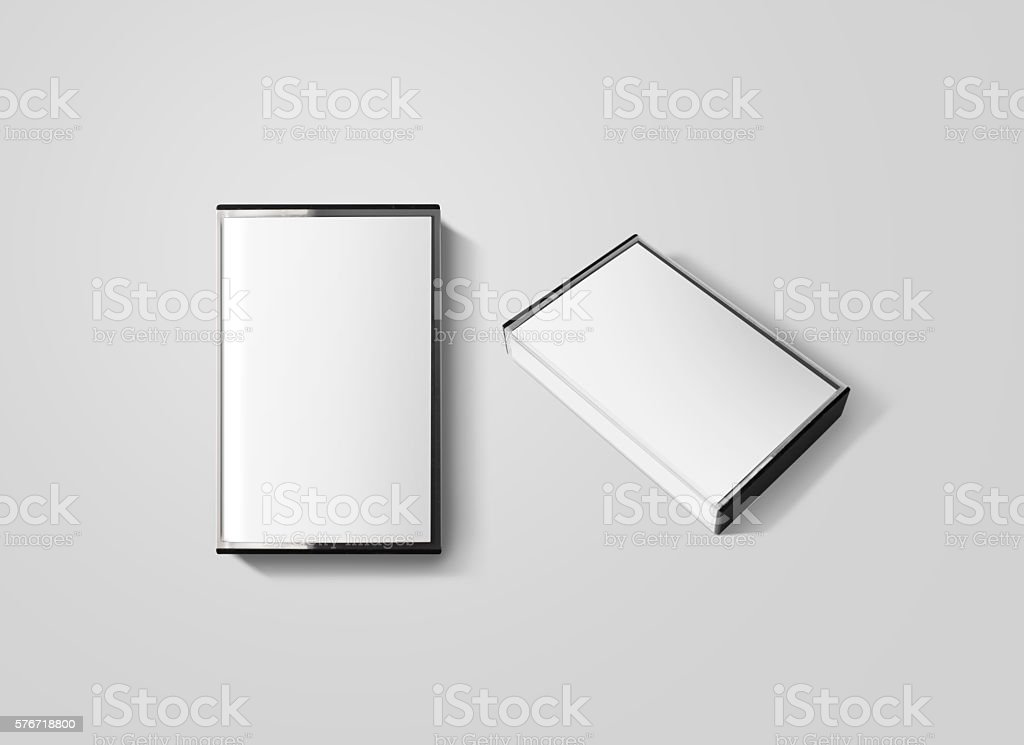 Blank cassette tape box design mockup, isolated, top and side stock photo