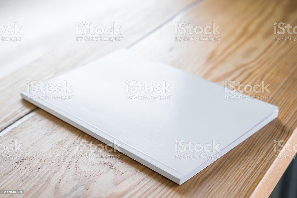 Blank catalog, magazines,book mock up on wood background stock photo