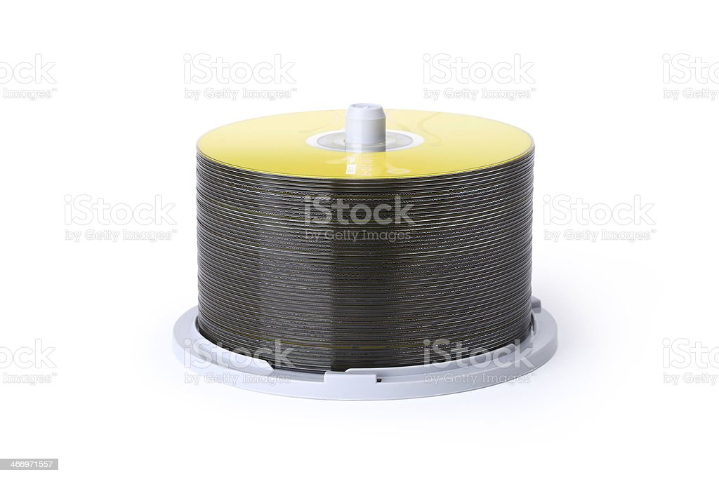 blank cd disks pile isolated with clipping path royalty-free stock photo