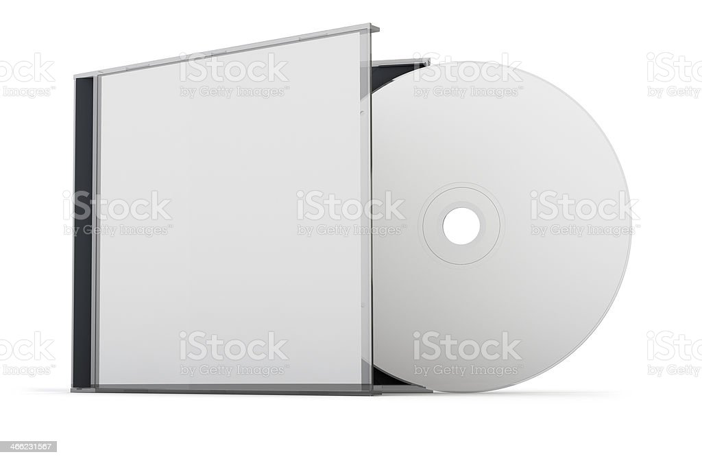 A blank cd with its case on a white background stock photo