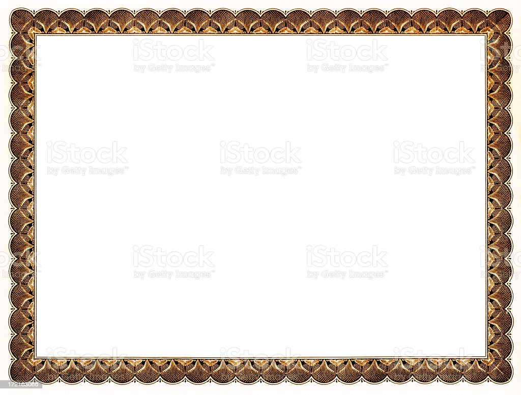 Blank certificate (gold) stock photo
