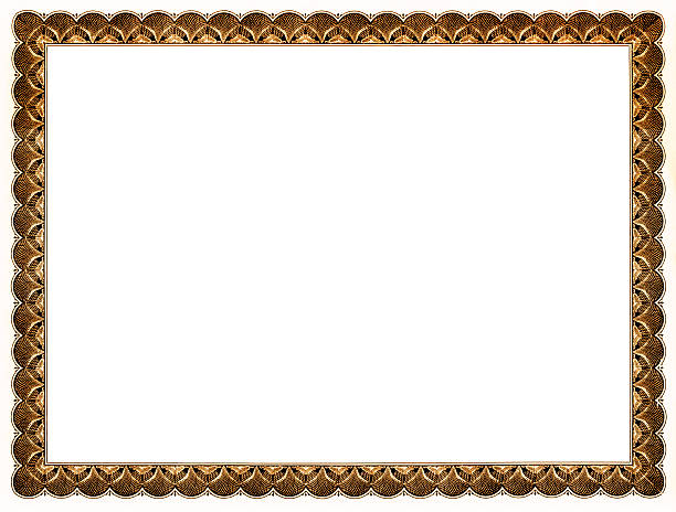 blank certificate (gold) - certificate stock photos and pictures