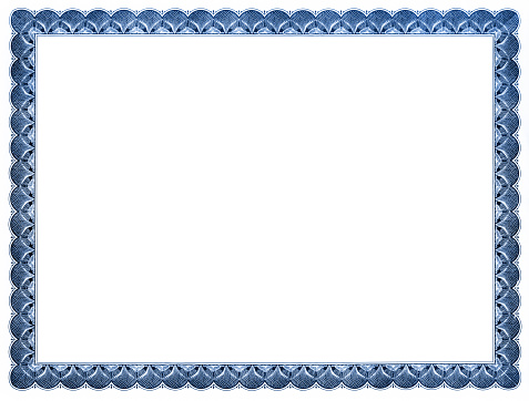 Blank certificate with blue frame.