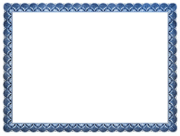 blank certificate (blue) - certificate stock photos and pictures