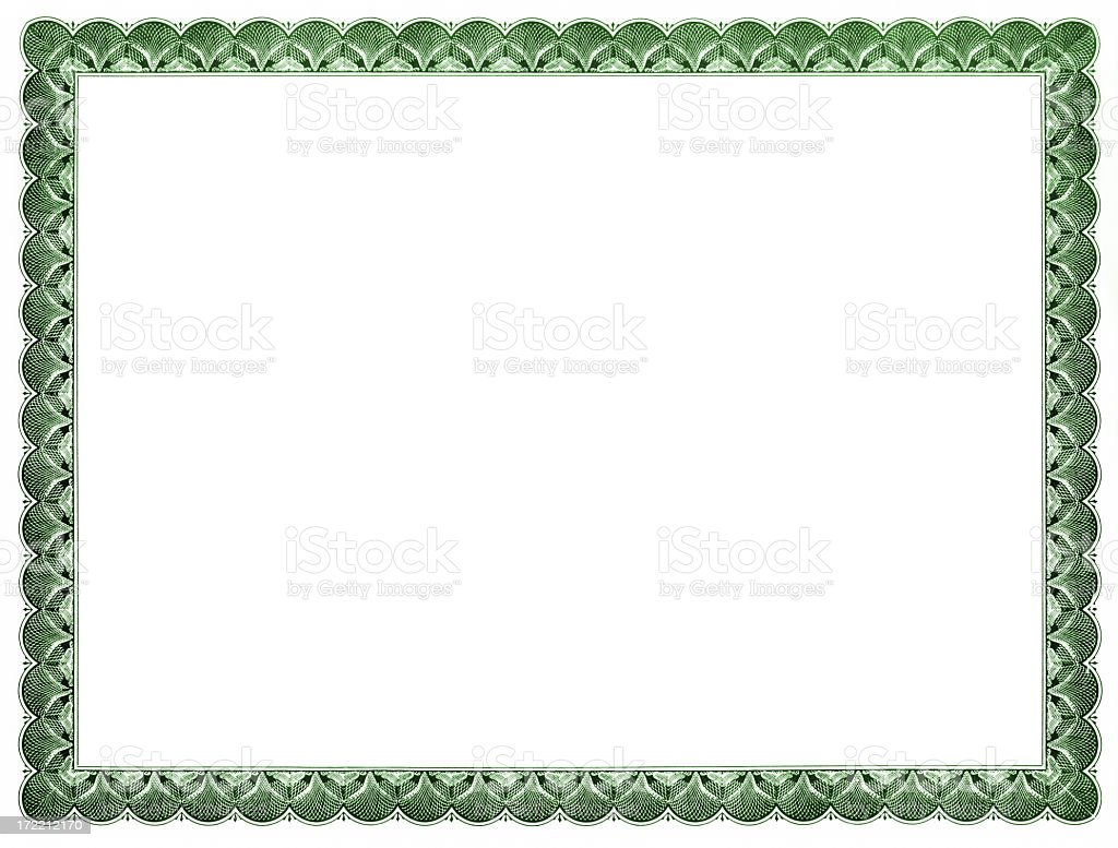 Blank Certificate (green) stock photo