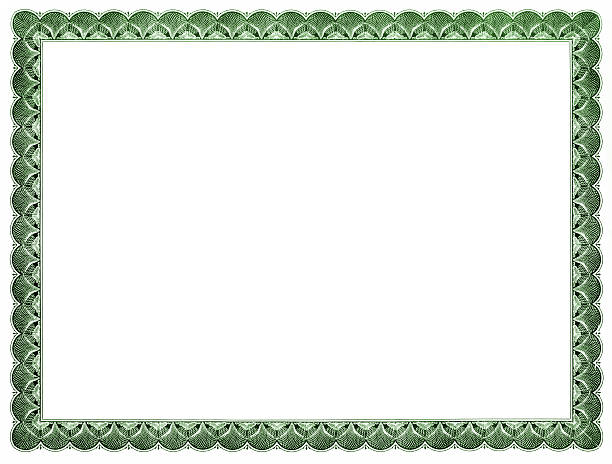 blank certificate (green) - certificate stock photos and pictures