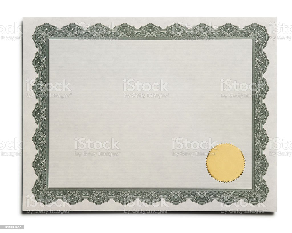 Blank Certificate royalty-free stock photo