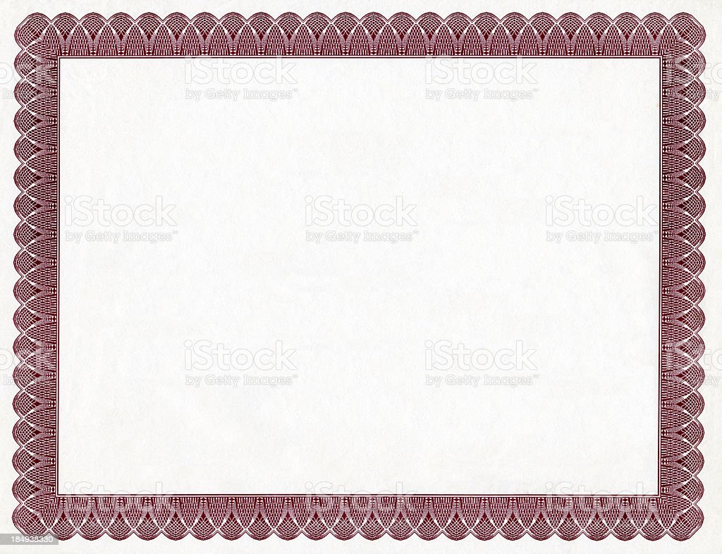 Blank Certificate stock photo