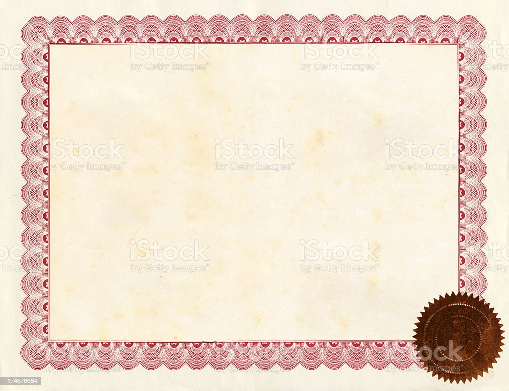 A blank certificate with a border and seal stock photo