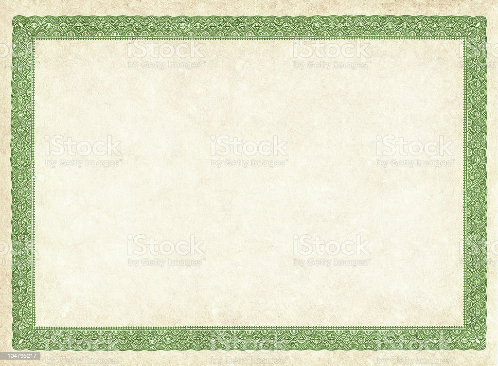 Blank Certificate With Green Detailed Borders Stock Photo & More ...