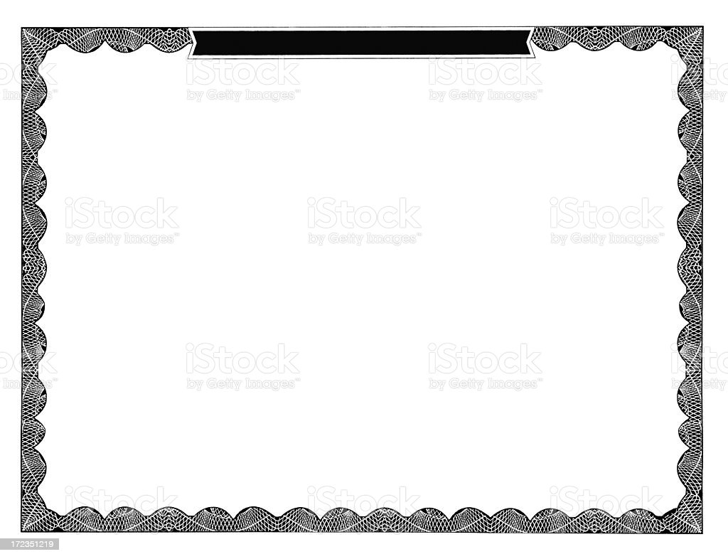 A blank certificate with scalloped border royalty-free stock photo