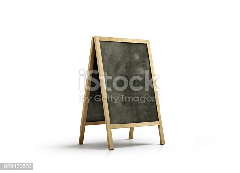 istock Blank chalk board street stand mockup, isolated 628470570