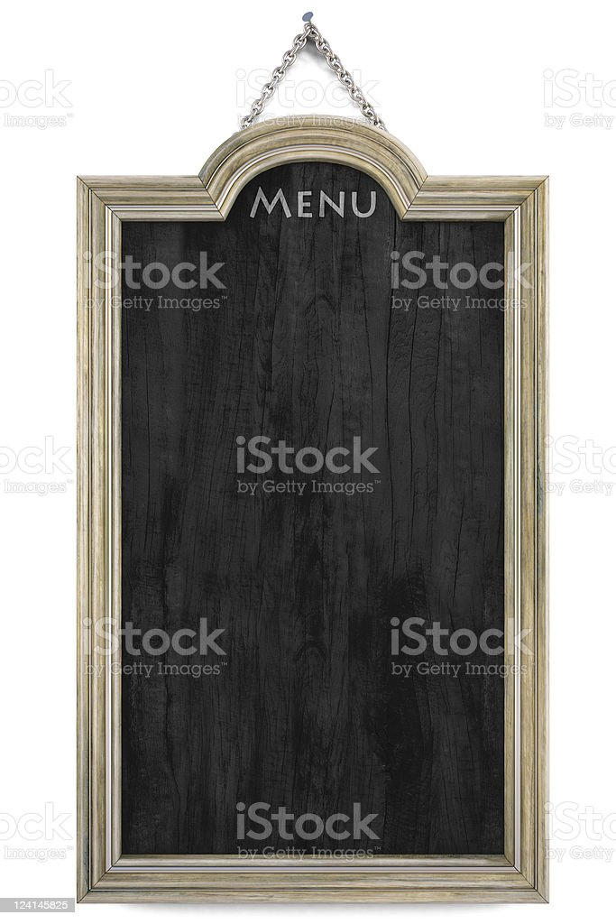 A blank chalkboard featuring the current menu royalty-free stock photo