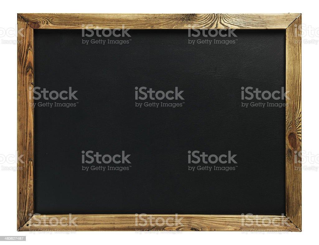 Blank chalkboard in wooden frame stock photo