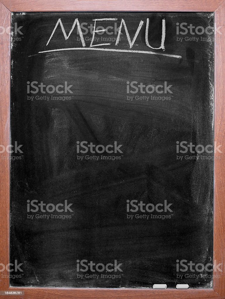 Blank chalkboard menu with wooden border stock photo