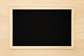 Rustic blank chalkboard on wooden background. Perfect as menu board and more.