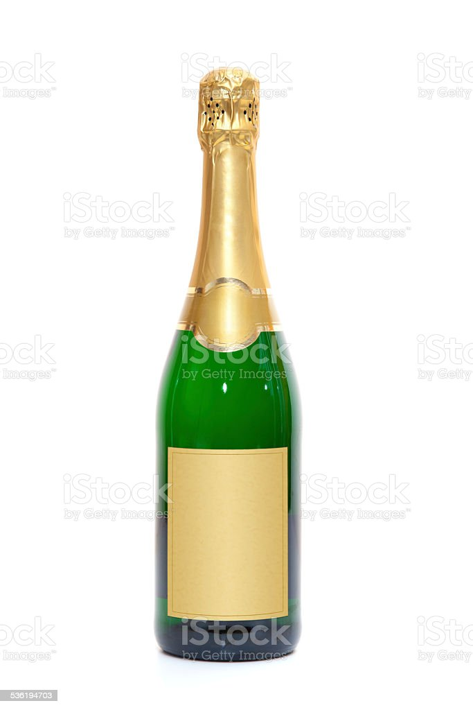 Blank champagne bottle stock photo