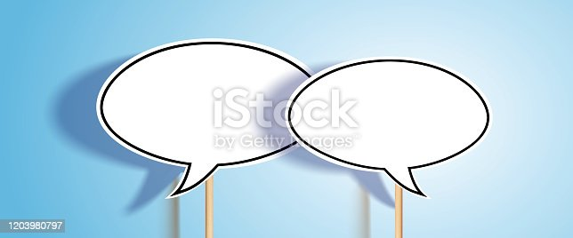 White ellipsis blank chat bubbles with wooden stick, 3D light and shadow effect on gradient light blue background with copy space.