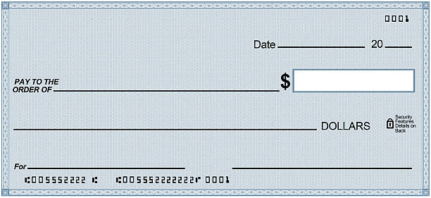 Blank check on Cyan  paper, unique design. Fake numbers stock photo