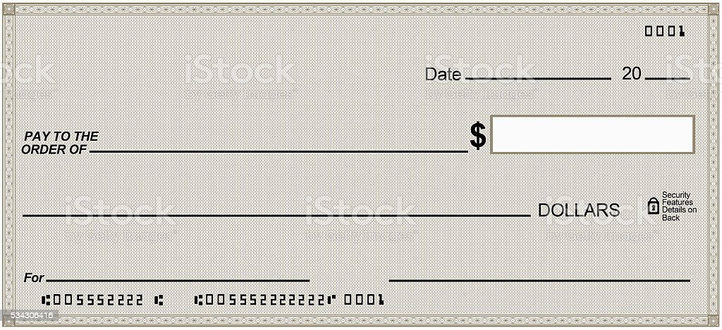 Blank check on Gray paper, unique design. Fake numbers stock photo
