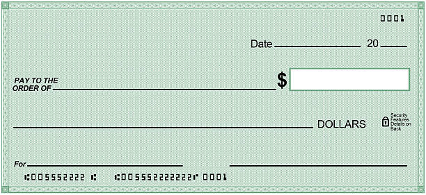 Blank check on Green paper, unique design. Fake numbers stock photo